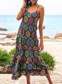 Black Casual Cotton-Blend Swing Crew Neck Maxi Dresses