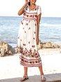 V Neck Off White Beach Maxi Dress