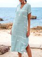 Blue Short Sleeve Striped Floral-Print A-Line Maxi Dresses