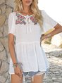 White Short Sleeve Casual Shift Shirts & Tops