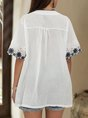White Guipure Lace Short Sleeve V Neck Shift Top