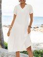 White Casual V Neck Solid Shift Dresses
