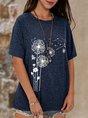 Blue Summer Dandelion Shift Floral Casual Top