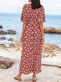 Sundress V Neck Bell Sleeve Beach Maxi Dress