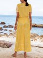 Yellow Striped V Neck Boho Dresses