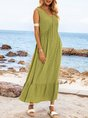 Lightgreen Sleeveless Swing V Neck Cotton-Blend Maxi Dresses