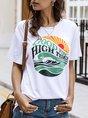 White Cotton Printed Short Sleeve T-Shirt
