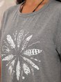 Gray Floral Shift Casual Crew Neck Top