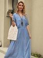 Solid V Neck Daily Linen Maxi Dress