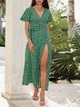 Green Holiday Short Sleeve Floral Maxi Dress