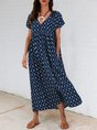 Purplish Blue Geometric Short Sleeve Holiday Maxi Dress