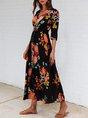 Black Shift Holiday Half Sleeve Printed Maxi Dress