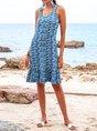 Blue Mermaid Beach Midi Dress