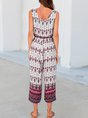 White Floral Sleeveless Drawstring Shift One-Pieces Jumpsuit