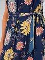 Sleeveless Halter Printed  With Belt Maxi Dress
