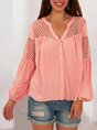 Guipure Lace Solid  Paneled V Neck Holiday Blouse