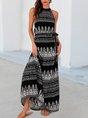 Black Printed Sleeveless Shift Halter  With Belt Maxi Dress
