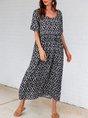 Purplish Blue Short Sleeve Pockets Floral Midi Dress