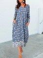 Blue Shift V Neck 3/4 Sleeve Tribal Boho Maxi Dress