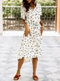 Floral V Neck Short Sleeve Drawstring Shift Midi Dress