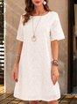 White Holiday Cotton Crew Neck Embroidered Mini Dress