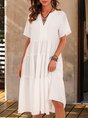 White Solid Short Sleeve V Neck Midi Dress