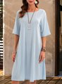 Blue A-Line Cotton Casual Half Sleeve Midi Dress