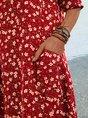 Red Shift Holiday Short Sleeve Pockets Maxi Dress