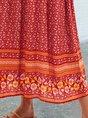 Orange Long Sleeve Printed V Neck Shift Boho Maxi Dress