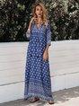 V Neck Blue Boho Maxi Dress