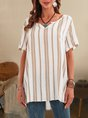 Shift Casual V Neck Paneled Stripes Top