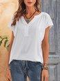 White  Short Sleeve V Neck Solid Basic Top