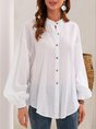 White Solid Long Sleeve Shift  Blouse
