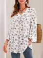 White V Neck Floral Casual Shift  Top