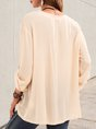Apricot Casual Solid Shift Buttoned Blouse
