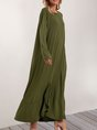 Olive Green Long Sleeve Crew Neck Maxi Dress