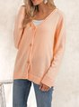 Orange Buttoned  Long Sleeve Solid Sweater