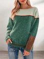 Green Casual Striped Acrylic Crew Neck Sweater