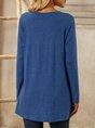 Blue Plain Long Sleeve Top