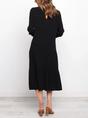 Black  Shift Solid Classic Midi Dress