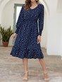 V Neck Polka Dots Daily Midi Dress