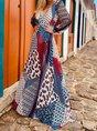 V Neck  Swing Holiday Boho Maxi Dress
