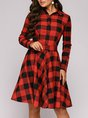 Shawl Collar A-Line Midi Dress