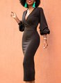 V Neck Formal Elegant Solid Midi Dress