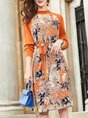 Daily Knitted Floral  Long Sleeve Midi Dress