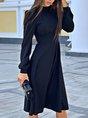 Stand Collar  A-Line Formal Elegant Midi Dress