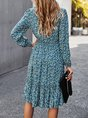 Floral Printed V Neck Long Sleeve Midi Dress