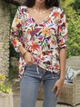 Long Sleeve Crew Neck Floral Shirts Blouses
