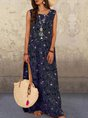 Sleeveless Floral Printed Casual Maxi Dress