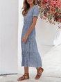 Sundress Blue A-Line Floral Midi Dress
